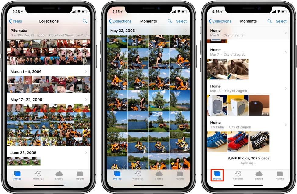 Three phones showing numerous photos in phone library